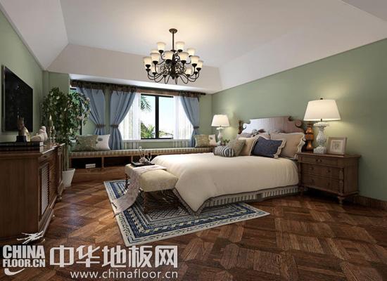 拼花地板装修效果图2:这款卧室中,清新淡雅的绿色、蓝色,干