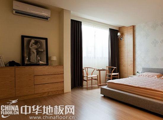 实木地板 原木色 卧室 装修效果图